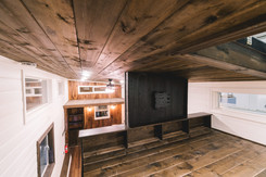 10' wide natural pine loft with media center