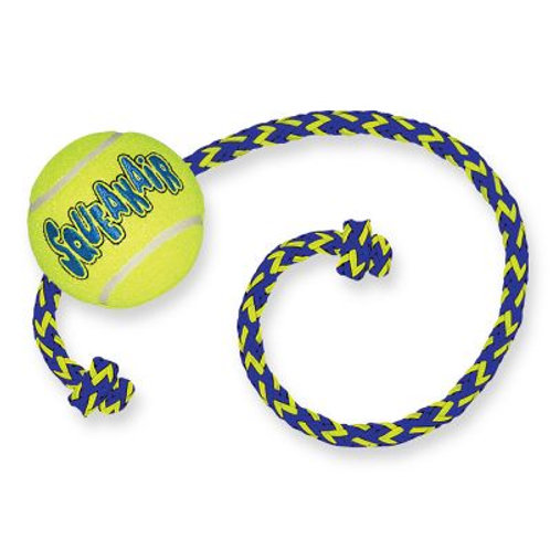 Kong Air Squeaker Tennis Ball with Rope - L