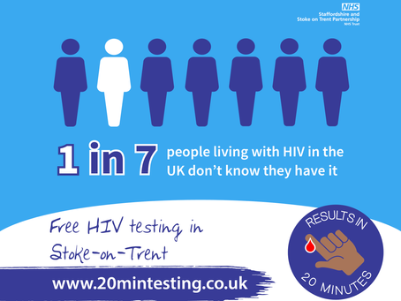 HIV testing drop-ins across Stoke-on-Trent with results in 20 minutes for HIV Testing Week