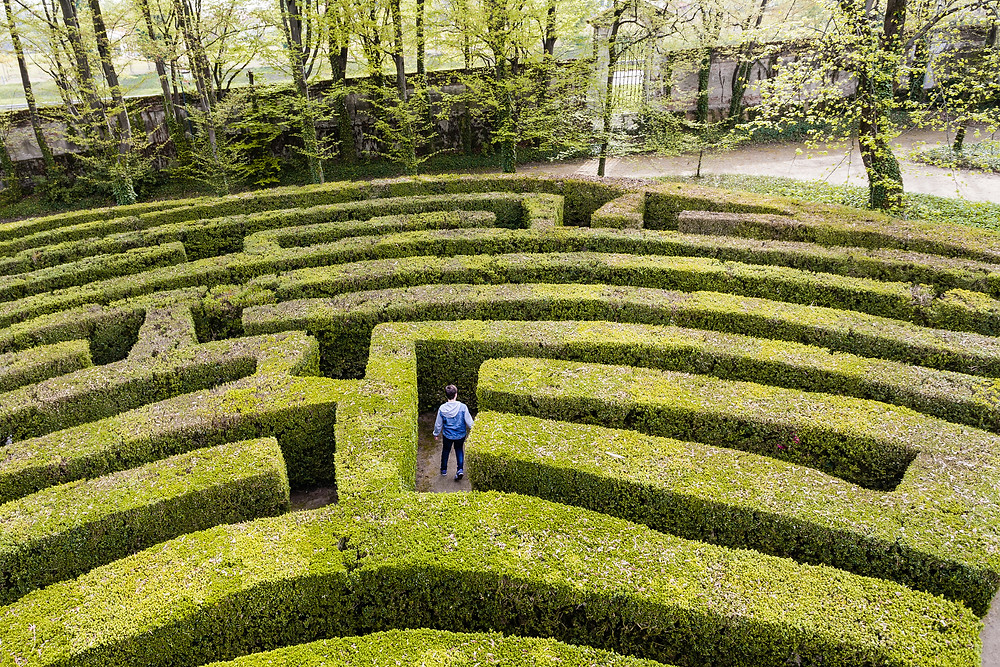 Person traveling through a hedge maze
