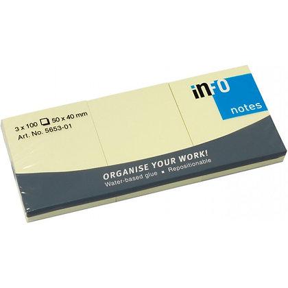 Χαρτάκια μικρά αυτοκόλλητα 3 πακέτα 100 φύλλων Info notes 50mmx40mm