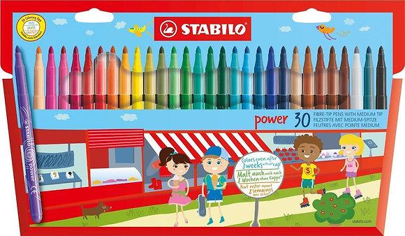 STABILO FIBRE-TIP PENS WITH XL TIP (12 COLOURS)