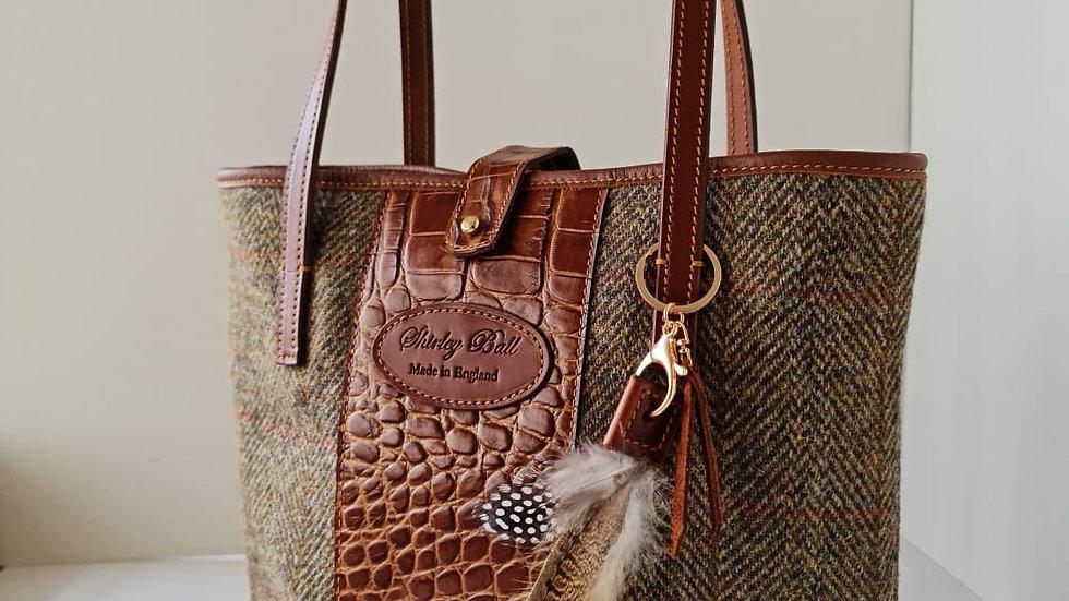 Harris Tweed and Croc Leather Tote Bag