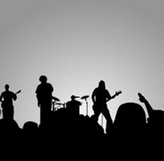 Saint and the Full 100 Band in silhouette