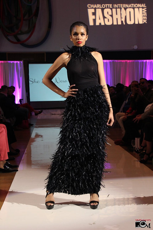 Black Maxi Feathered Skirt w/Mesh Halter Top