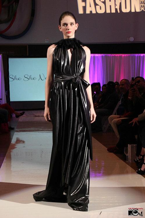 Black Patent Maxi Dress