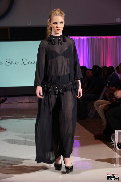 Black Sheer Mesh Maxi Dress with Faux Leather Trim