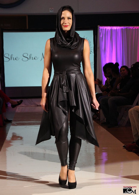 Black Faux Leather Catsuit w/Wrap Skirt & Infinity Scarf
