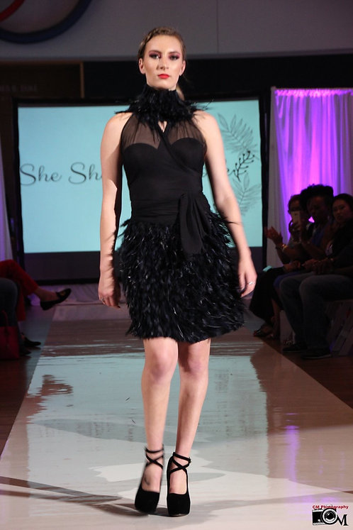 Black Feathered Skirt w/Sheer Mesh Halter Top