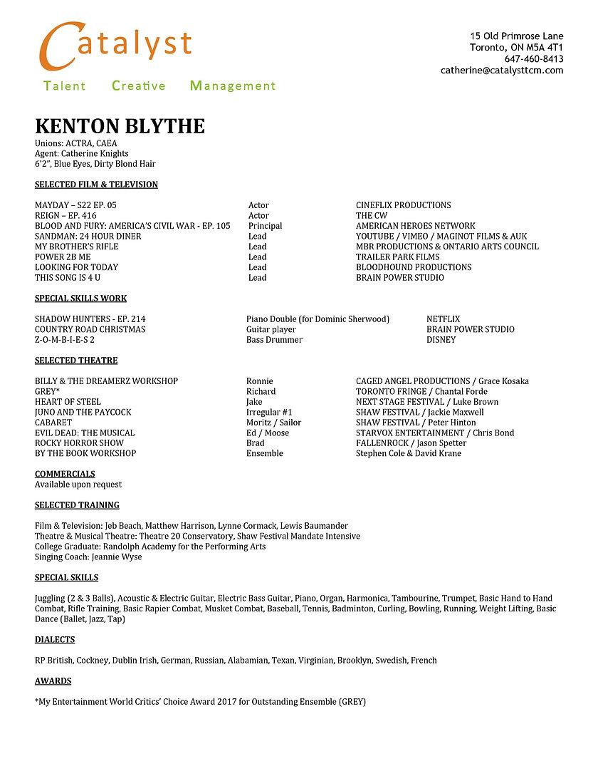 Kenton Blythe FILM AND TELEVISION Resume