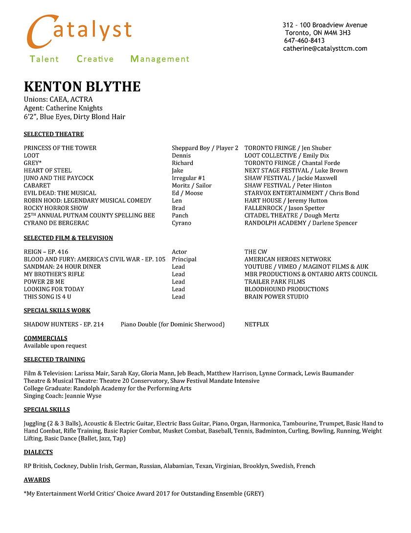 Kenton Blythe THEATRE Resume October 201