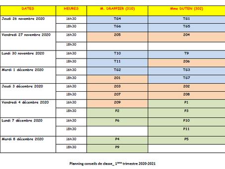 Calendrier des conseils de classe du 1er trimestre / semestre