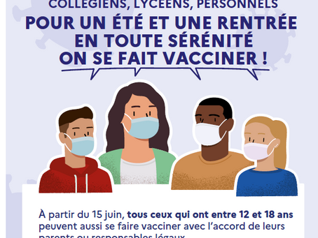 Covid19: vaccination des 12-18 ans