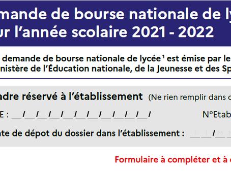 Demande de bourse des lycées 2021/2022
