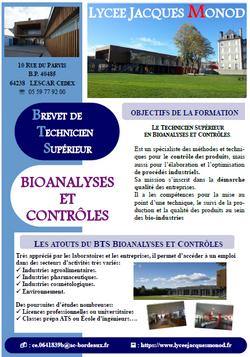 JPO BTS Bioanalyses et contrôles - Lycée J Monod. Lescar
