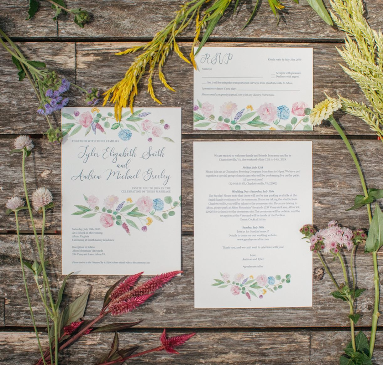 Wedding Invitation Suite Summer Florals.
