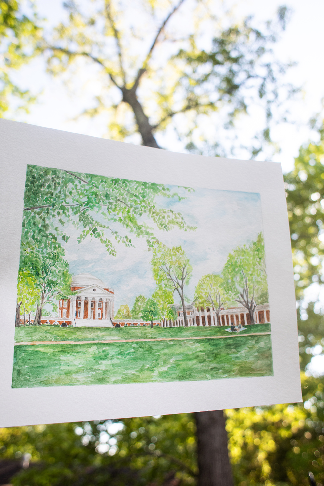 UVA Lawn Watercolor