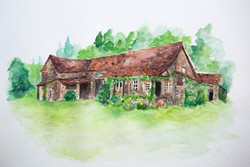 French Cottage Watercolor