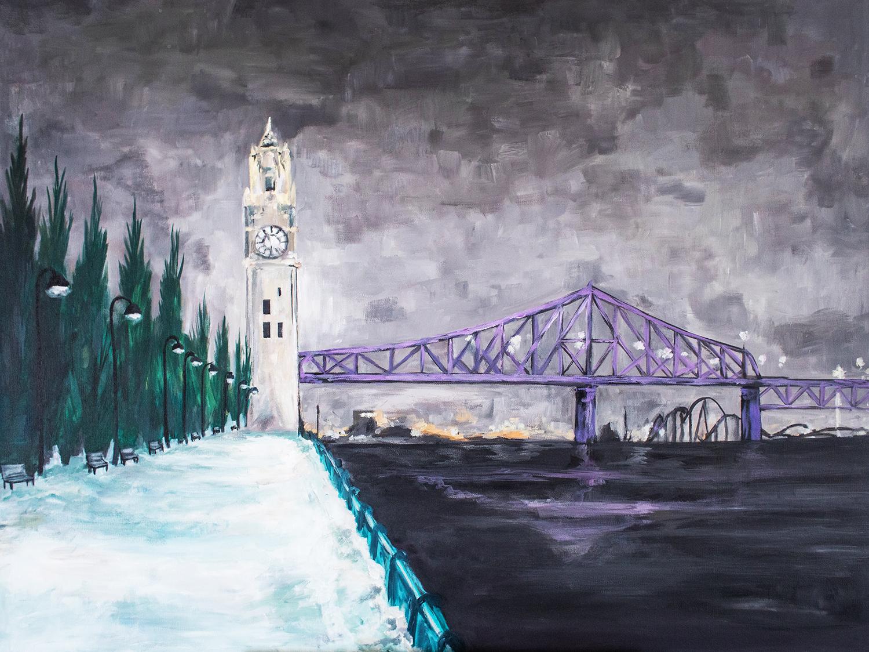 Montreal Bridge at Night