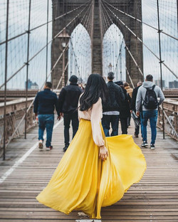 The yellow skirt meets the big apple, at