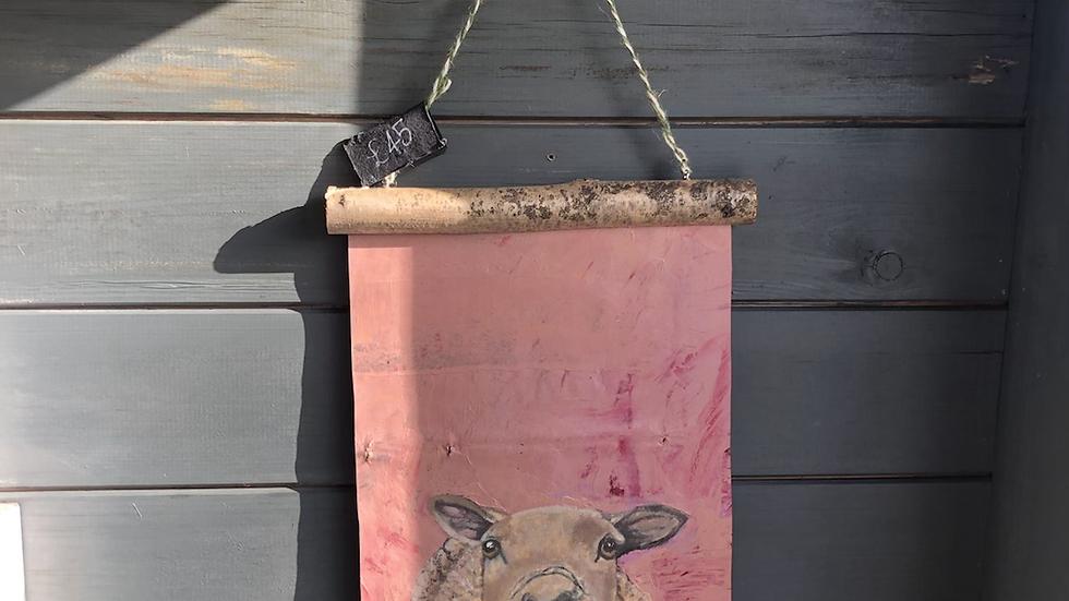 Oil on handmade paper favourite sheep portrait