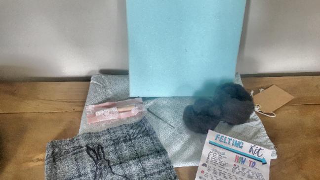 Hare silhouette felting kit on grey Harris tweed