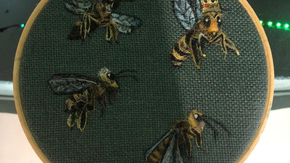Mini bees tapestry hoop