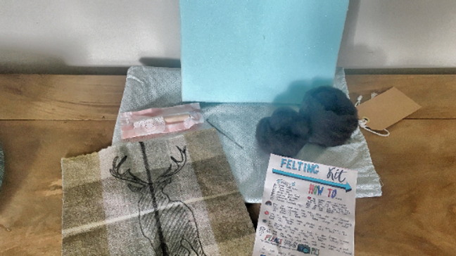 Stag silhouette needle felting kit on Harris tweed