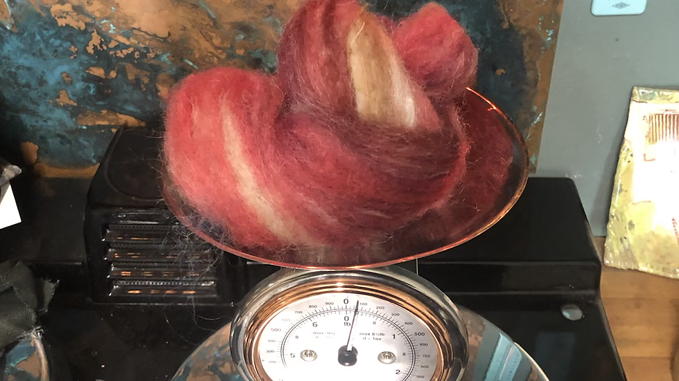 75g hand dyed and carded valais blacknose mule Lleyn texel