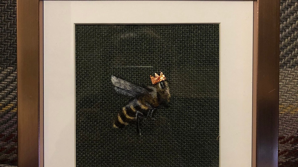 Queen bee 6 x 6 inch rose gold frame hand processed local wool with copper leaf