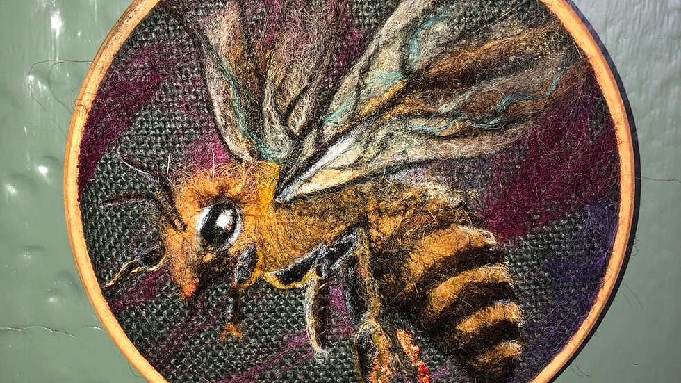Worker bee tapestry hoop