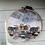 Thumbnail: Needle felted texel and herdwicks in snow in wooden tapestry hoop