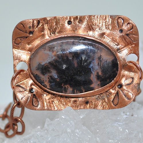 Moss Agate and Copper Bracelet