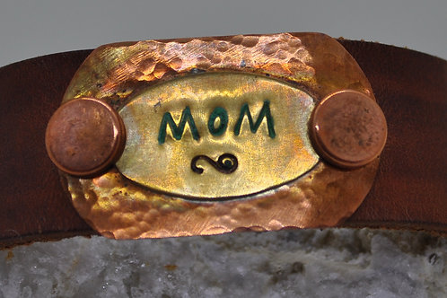 Leather Copper and Brass Bracelet