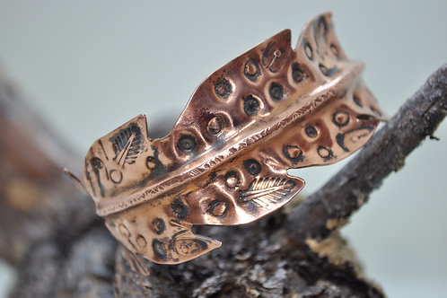 Hand Cut & Formed Feather Copper Cuff Bracelet
