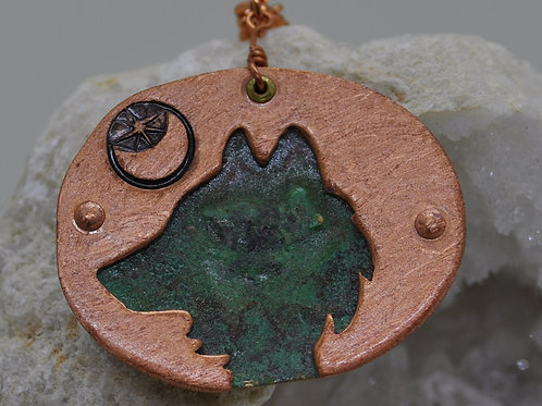 Wolf necklace copper