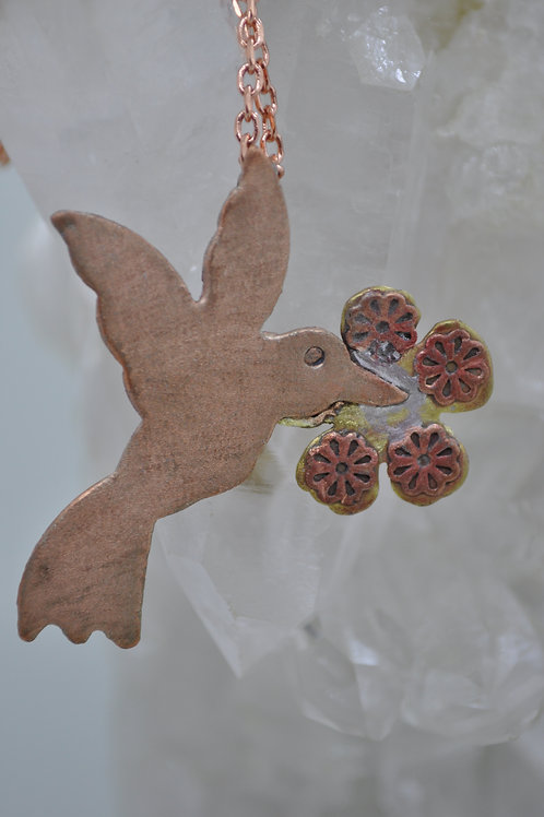 Hummingbird Necklace Copper