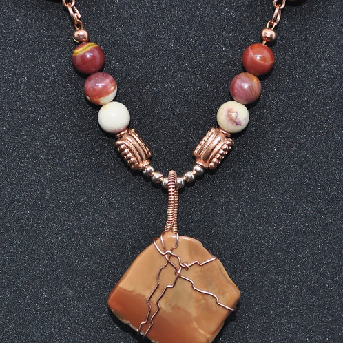 Agate and Mookite Necklace