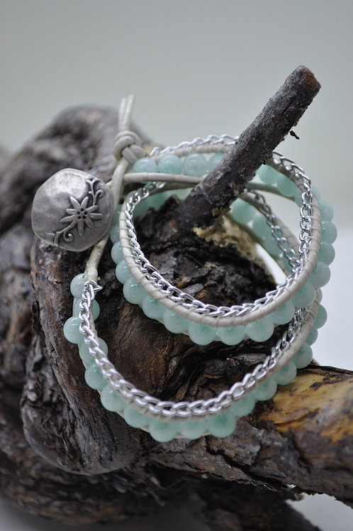 Amazonite Wrap Leather Bracelet