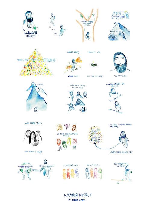 Wander Kindly Digital Download Poster