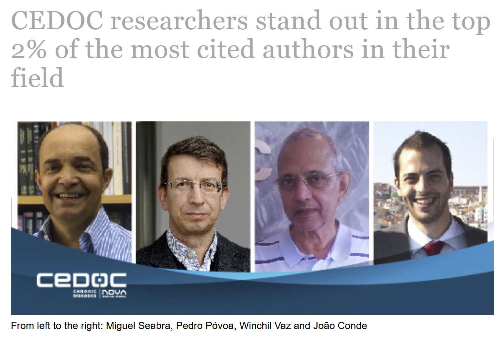 CEDOC researchers stand out in the top 2% of the most cited authors in their field