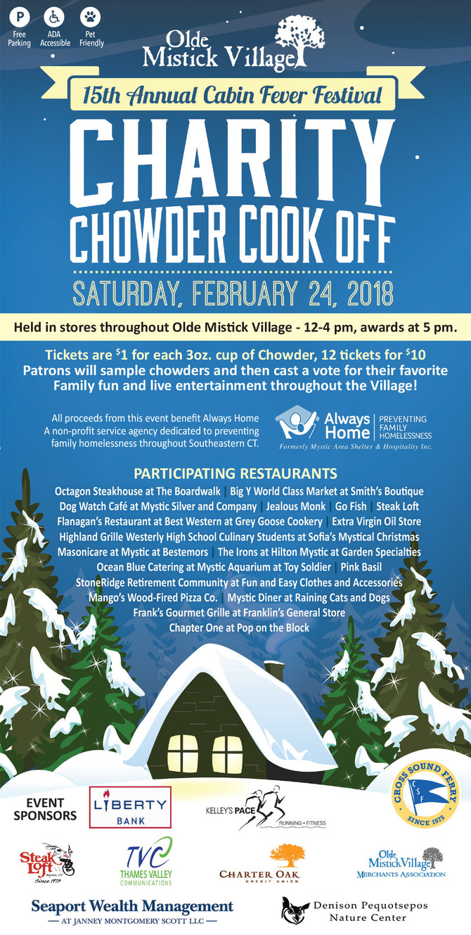 Support ALWAYS HOME at the Cabin Fever Festival and Charity Chowder Cook-Off this Saturday!