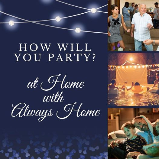 """Caption is """"How Will You Party"""" accompanied by 3 photos: middle-aged couple dancing; party-goers watching an outside screen from inflatables in the pool; and a dad and two kids on the couch."""