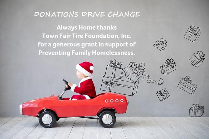 Town Fair Tire Foundation Donates to Always Home