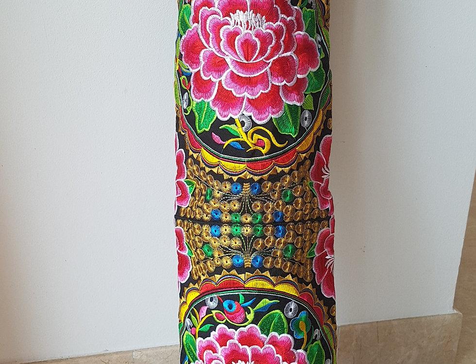 Rose Black Embroidered Yoga Bag