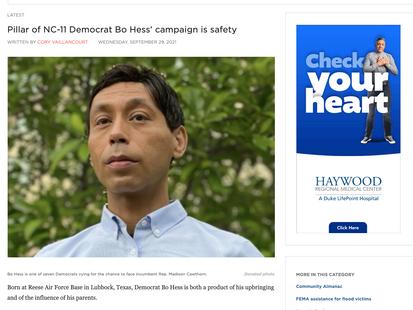 Pillar of NC-11 Democrat Bo Hess' campaign is safety