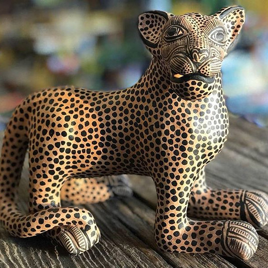 These beautiful ceramic jaguars are hand