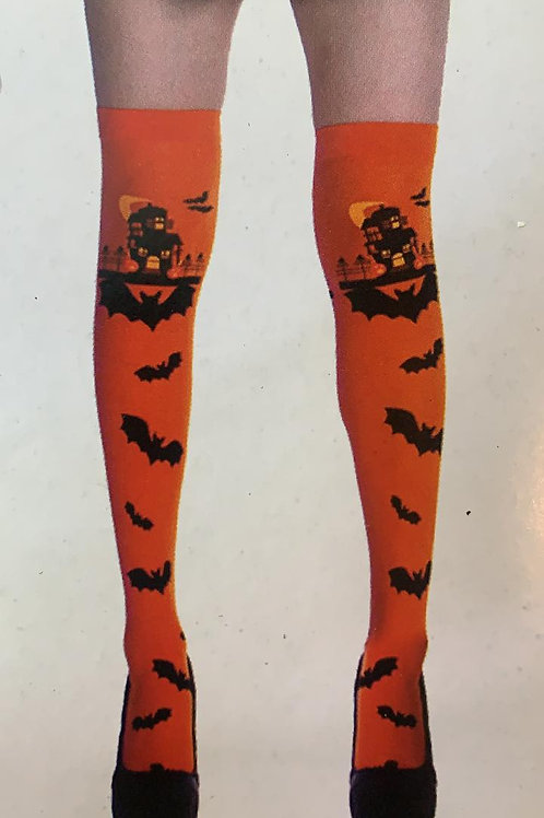 Meia 7/8 Halloween Morcego