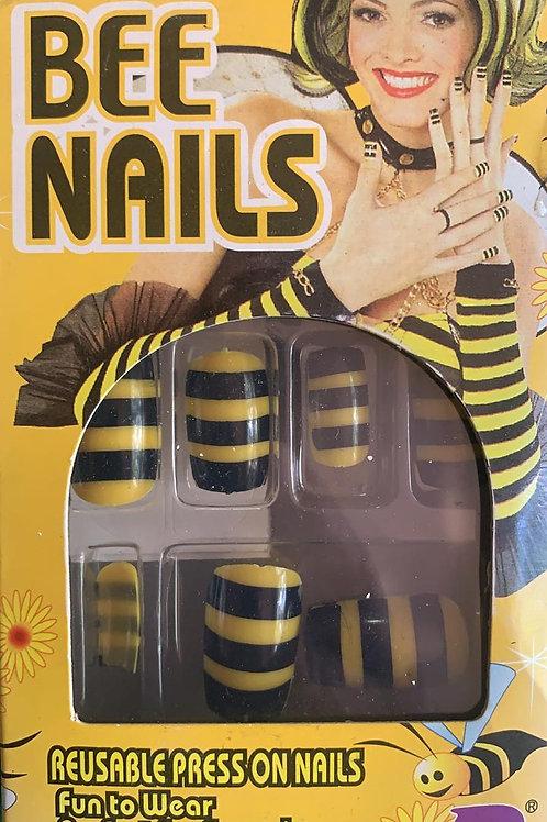 Unhas postiças estampa abelha.