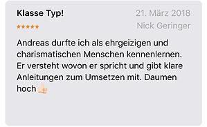 Nick Geringer spricht über Andreas Bäuerlein